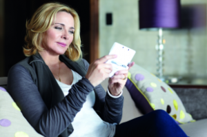 Kim Cattrall playing Mario 3D Land
