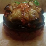 Easy Vegan recipe – Aubergine Winter Delight with gherkin and garlic tapenade (Vampires keep out :-)
